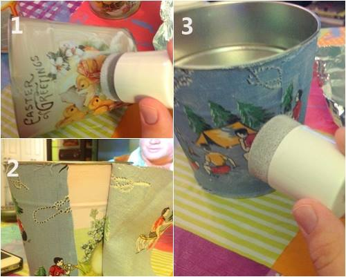 Decorar macetas con telas alegres para un regalo original 5