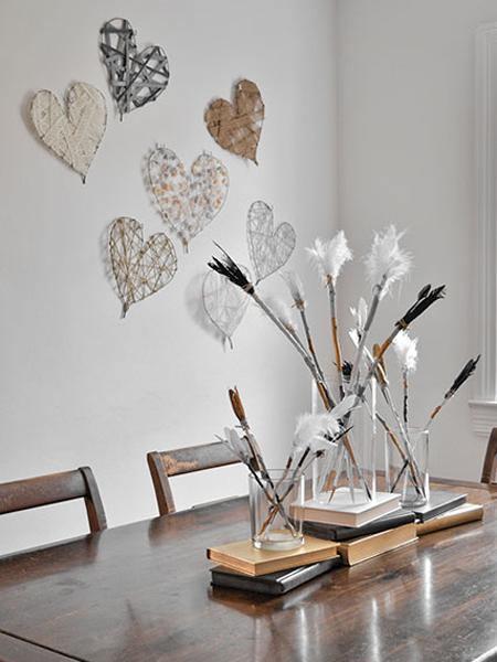con alambre corazones para decorar bodas paredes