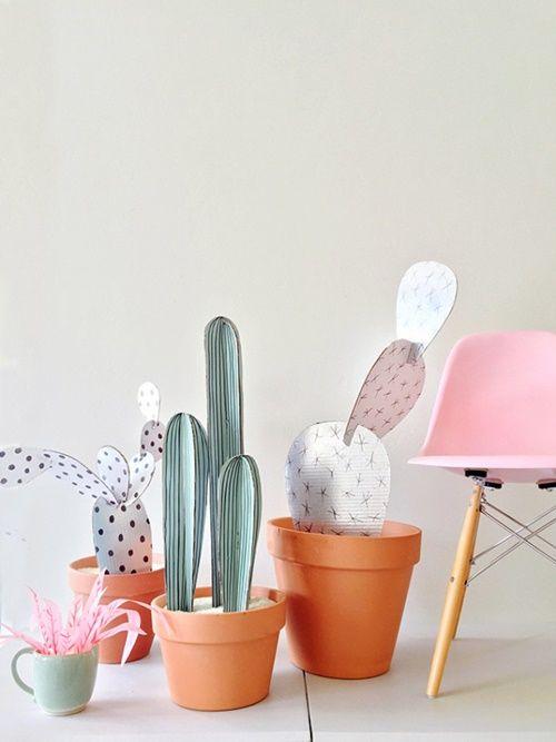 manualidades para regalar divertidas macetas de cactus de carton 1