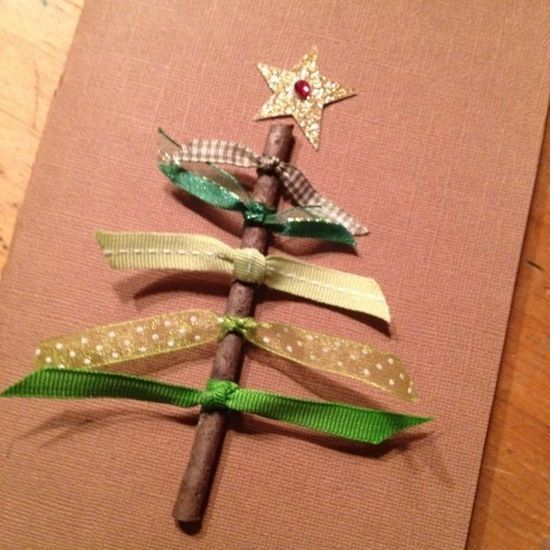 Postales de Navidad originales con cintas y ramas secas 1