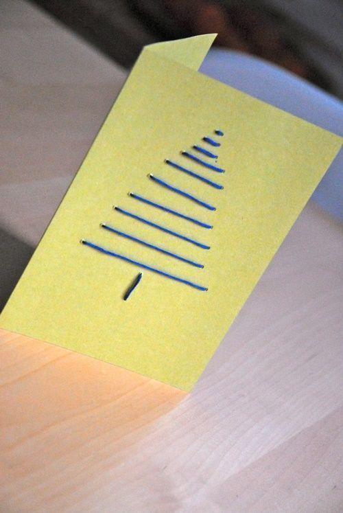 tarjetas de navidad originales hechas a mano con puntadas