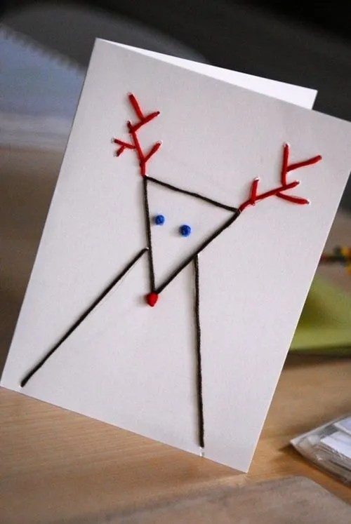 Tarjetas de Navidad originales hechas a mano con puntadas 3
