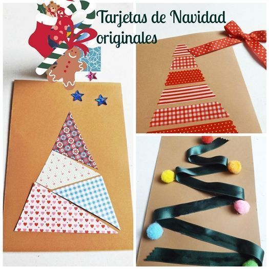 Diy 3 tarjetas de navidad originales hechas a mano - Manualidades tarjeta navidena ...