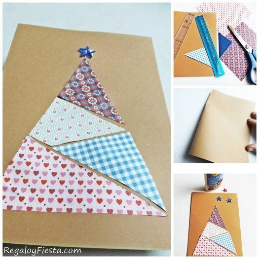 Tarjetas de Navidad originales hechas a mano con papeles de scrapbooking.