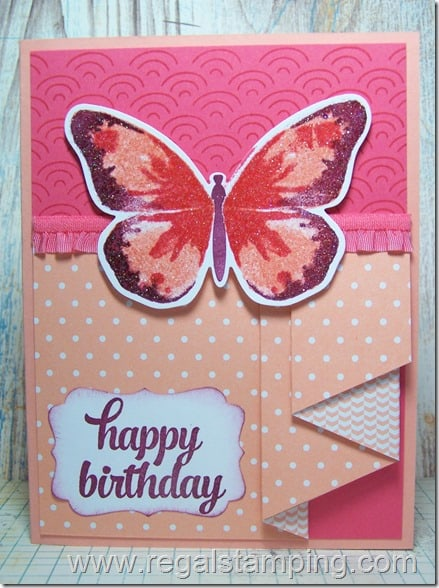 Watercolor Wings Pleated Ruffle Card