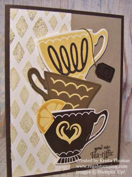 Drywall Spackling Technique & Tutorial  by Krista Thomas, A Nice Cuppa and Cups & Kettle Framelits, Stampin' Up! Directions on www.regalstamping.com