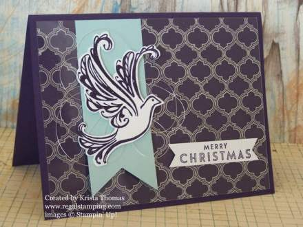 Fabulous Foil Designer Acetate is used as a background for this Christmas card.  By Krista Thomas for SplitCoastStampers Creative Crew.  All products by Stampin' Up!