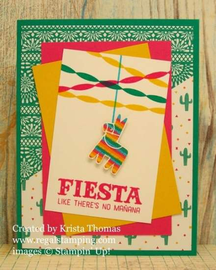 Festive Birthday Pinata card by Krista Thomas, www.regalstamping.com