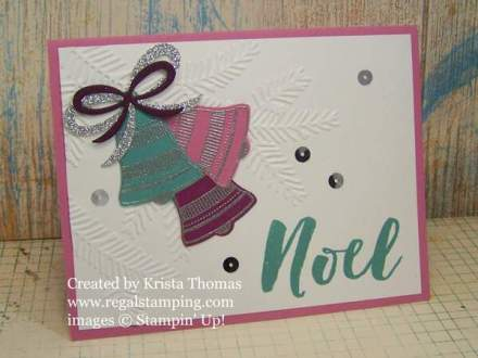 Seasonal Bells and Pine Bough Textured Embossing Folder by Krista Thomas, www.regalstamping.com, all products by Stampin' Up!
