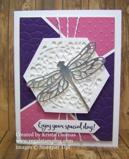 Detailed Dragonfly by Krista Thomas using Window Box Thinlit, www.regalstamping.com