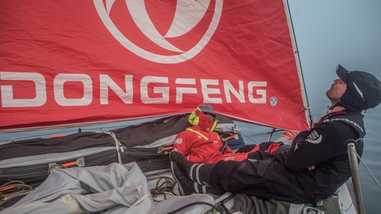 Leg 8 from Itajai to Newport, day 17 on board Dongfeng. 08 May, 2018. Kevin and Marie sleeping at the bow, waiting for the finish./Jeremie Lecaudey/Volvo Ocean Race