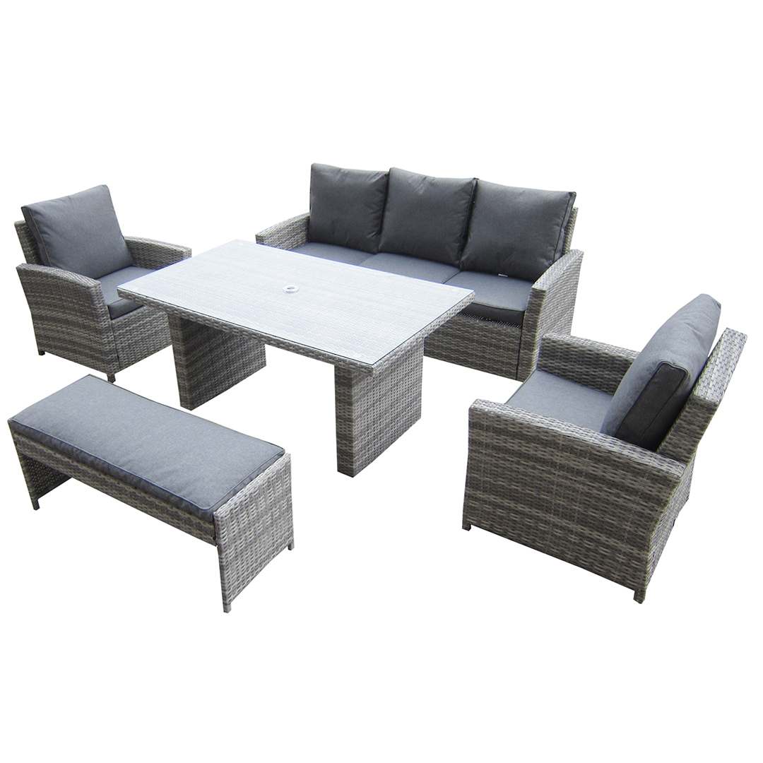 Rattan 3 Piece Sofa Kensington Malmo 5pc Sofa Set 2 Armchairs 3 Seat Sofa Dining Height Table Dining Bench Granite