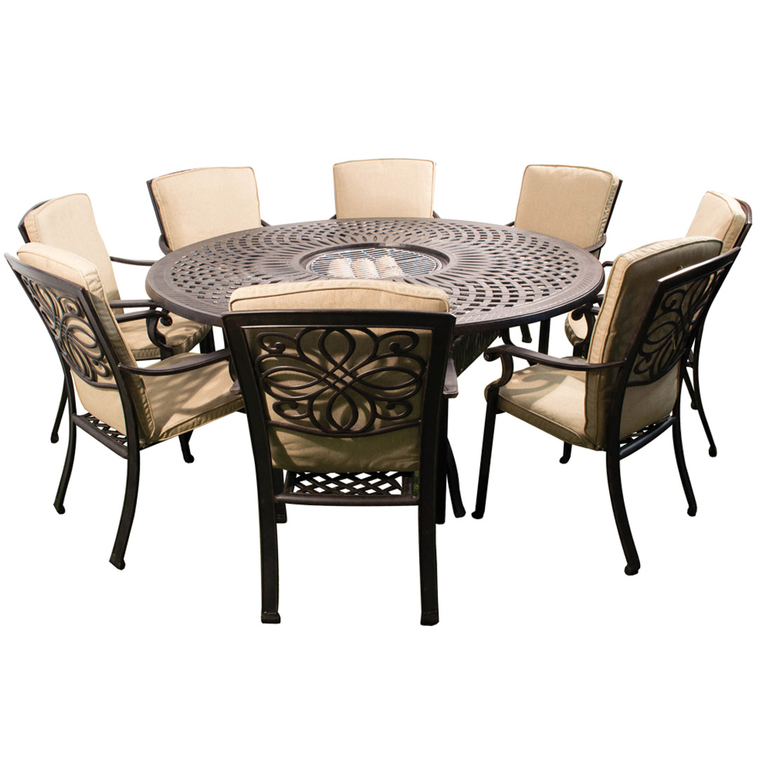 Firepit Chairs Kensington Firepit And Grill 8 Chair Dining Set With 180cm