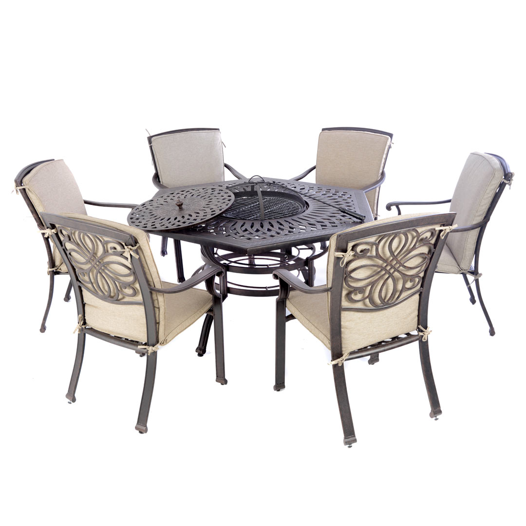 Firepit Chairs Kensington Firepit And Grill 6 Chair Dining Set With 150cm
