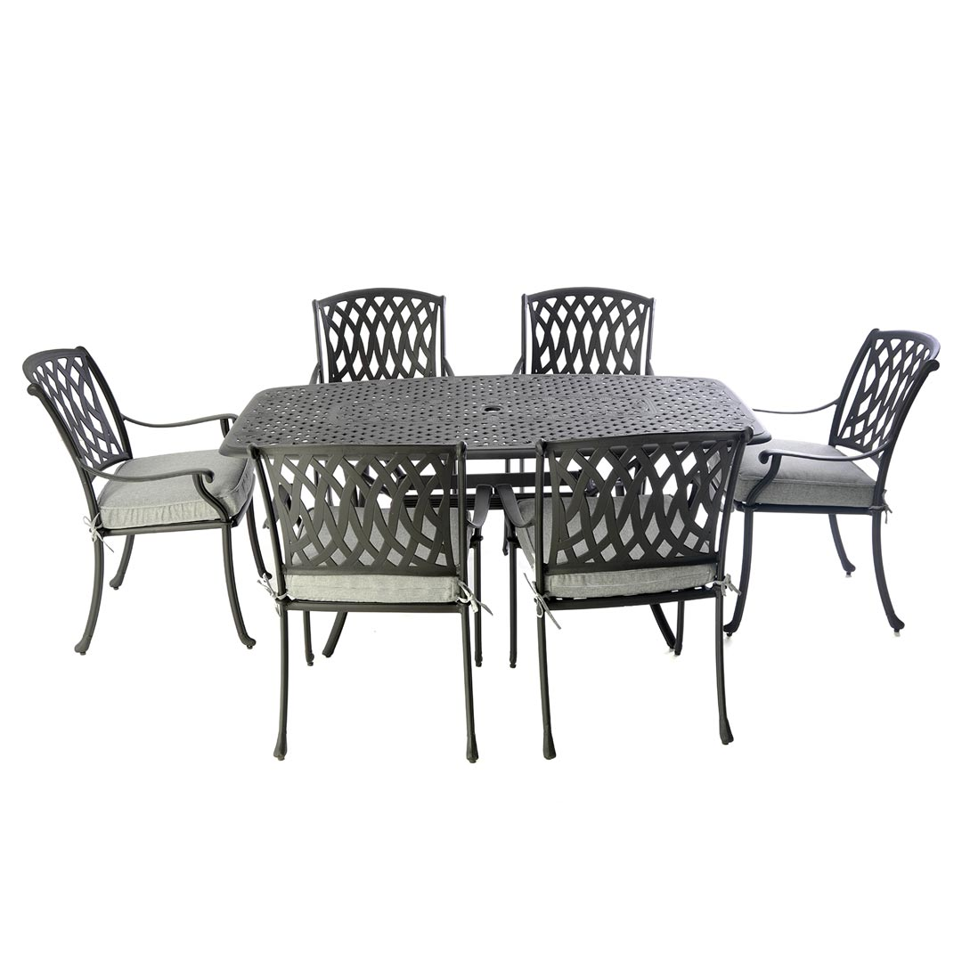 Black Metal Patio Chairs Black Metal Boat Shaped Table Set With 6 Venetian Chairs