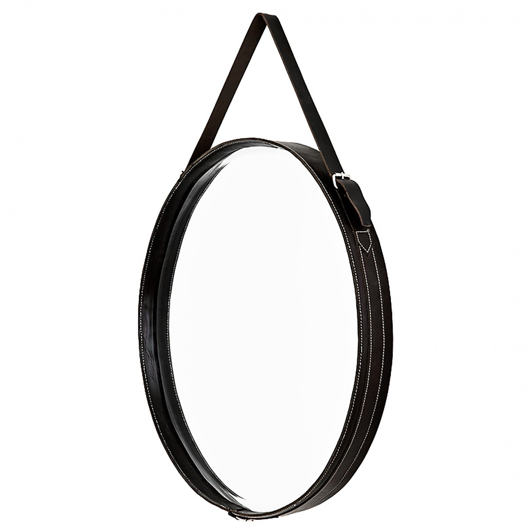 Puck Black Leather Mirror