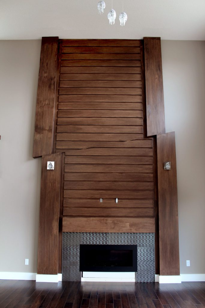 oak brown stain fireplace mantle feature wall custom design