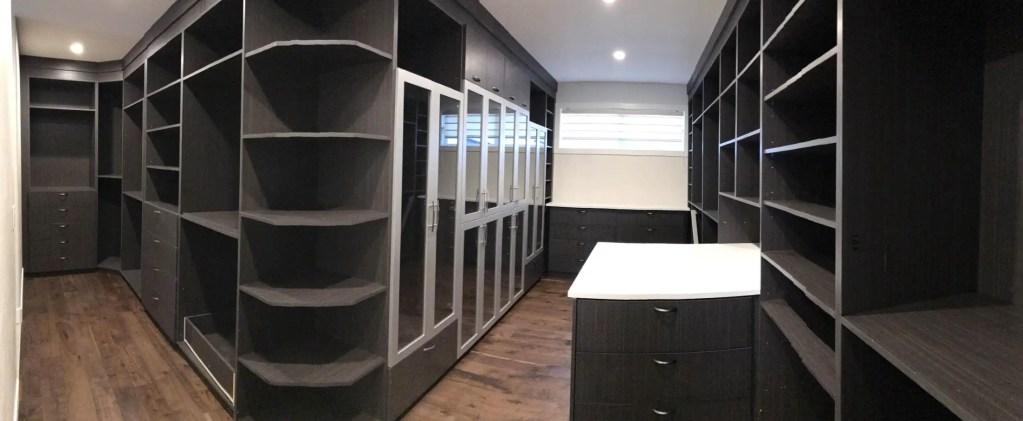 maple dark walnut closet storage space