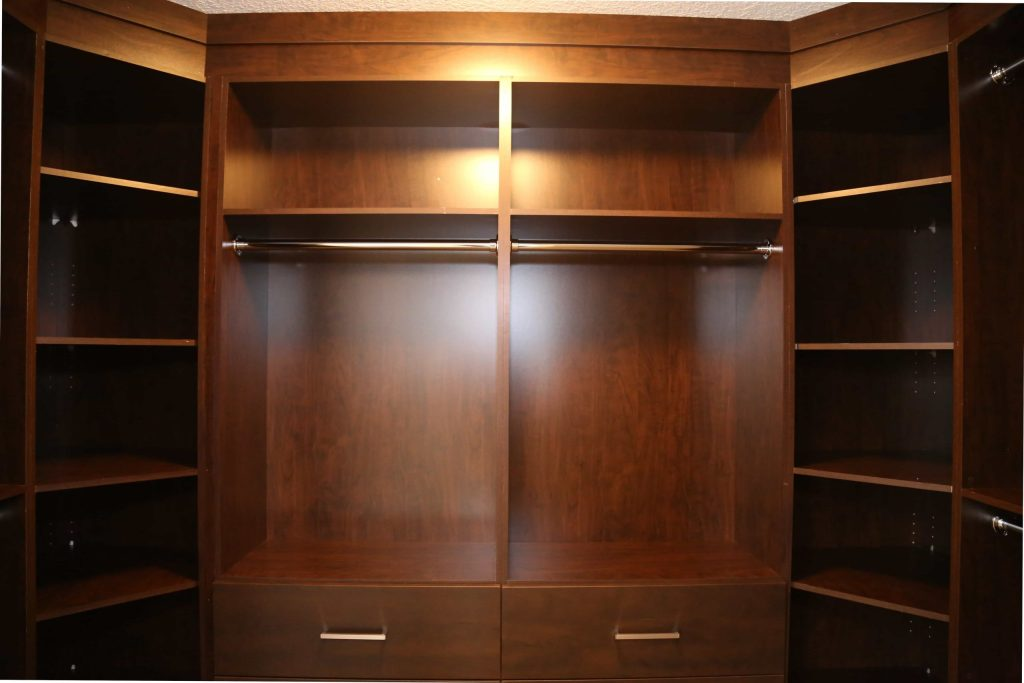 brown mahogany closet storage space