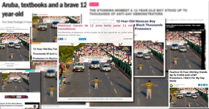 Recorre el mundo foto de niño que enfrentó a manifestantes contra matrimonio igualitario