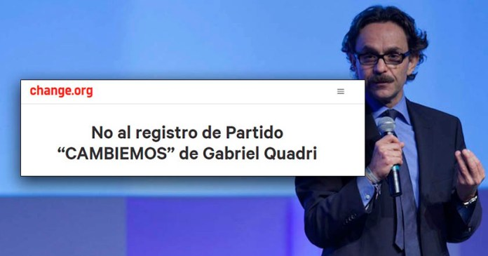 Ahora lanzan petición en línea para detener partido de Quadri