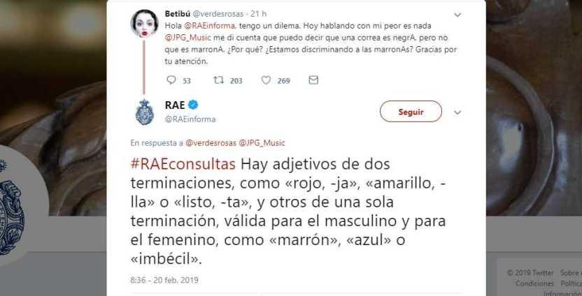 rae - Real Academia Española llama 'imbécil' a usuaria de Twitter