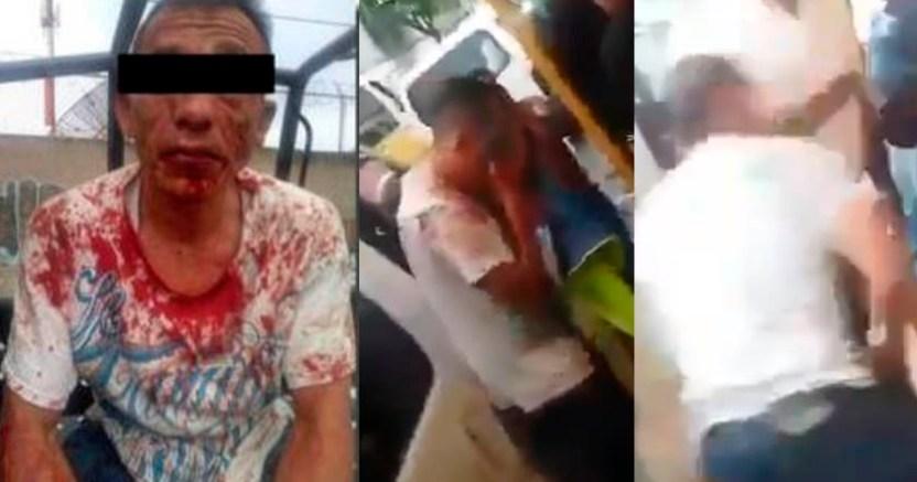 Pasajeros de transporte público de Edomex desarman y golpean a asaltante  - Pasajeros de transporte público de Edomex golpean a asaltante