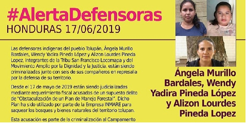honduras yoro - Piden liberar indígenas defensoras del bosque de Yoro, Honduras