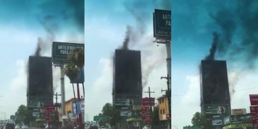 incendio monterrey - Incendio en un edificio de Monterrey provoca movilización