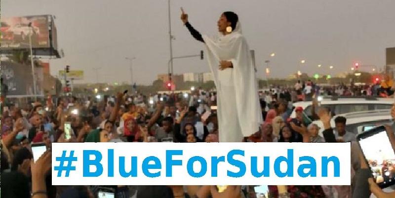 sudán - #BlueForSudan, ante masacre, solidaridad por la democracia