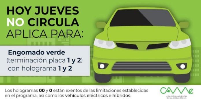 Este jueves no circulan los automóviles con engomado verde