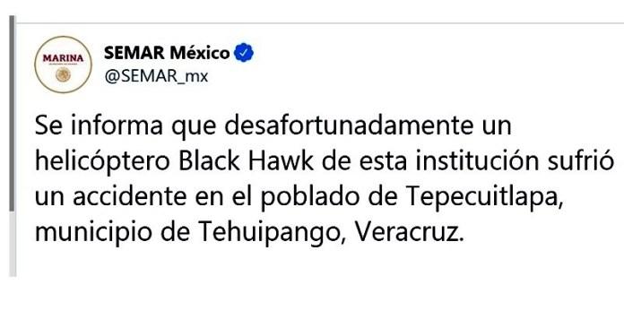 Semar lamenta desplome de helicóptero en Veracruz