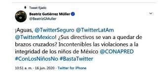 Beatriz Gutiérrez denuncia ataques a infancia en Twitter