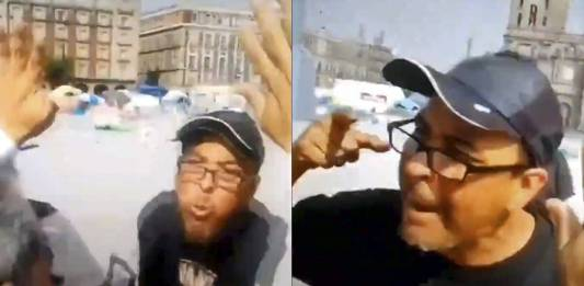 Miembro de FRENAAA escupe en la cara a adulto mayor en el Zócalo