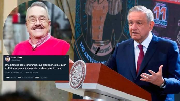 """1 2 - AMLO responde a Pedro Sola sobre el aeropuerto """"Felipe Ángeles"""""""
