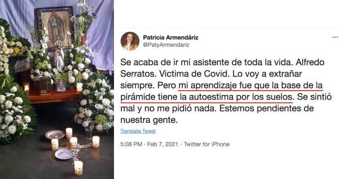 Indigna Patricia Armendáriz al criticar autoestima de su asistente fallecido por covid-19
