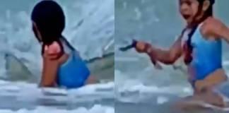 Mujer graba momento en que su hija escapa de un tiburón