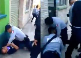 Policías golpean a una pareja en Hidalgo