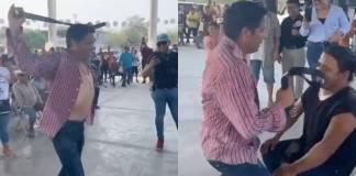 Candidato de Redes Sociales Progresistas hace un strip-tease durante mítin en SLP