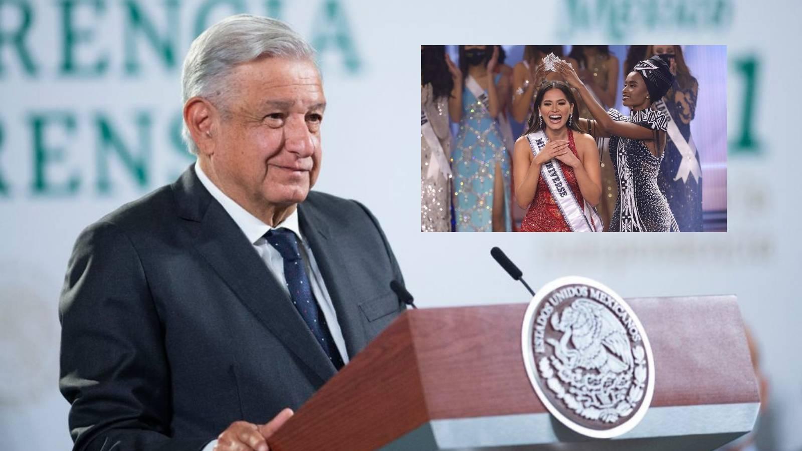 AMLO celebra triunfo de Andrea Meza como Miss Universo 2021