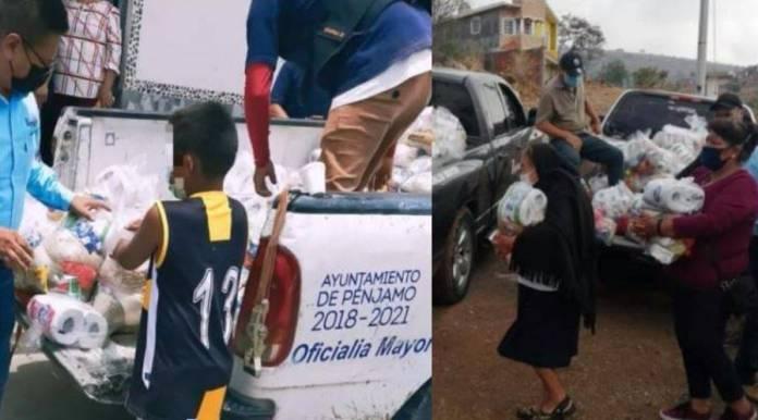 Así entregan despensas en plenas campañas en Pénjamo, Guanajuato