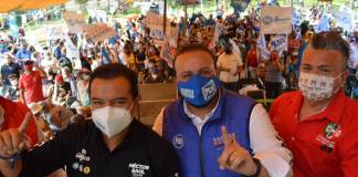 Mujeres protestan contra candidato del PAN por golpear a su esposa