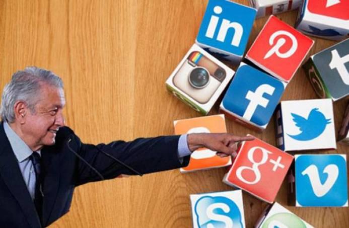 Critica AMLO cancelación de cuentas en redes sociales