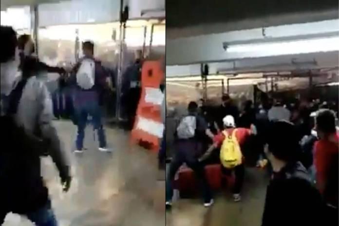 Captan pelea campal entre policías y civiles en Metro Pantitlán