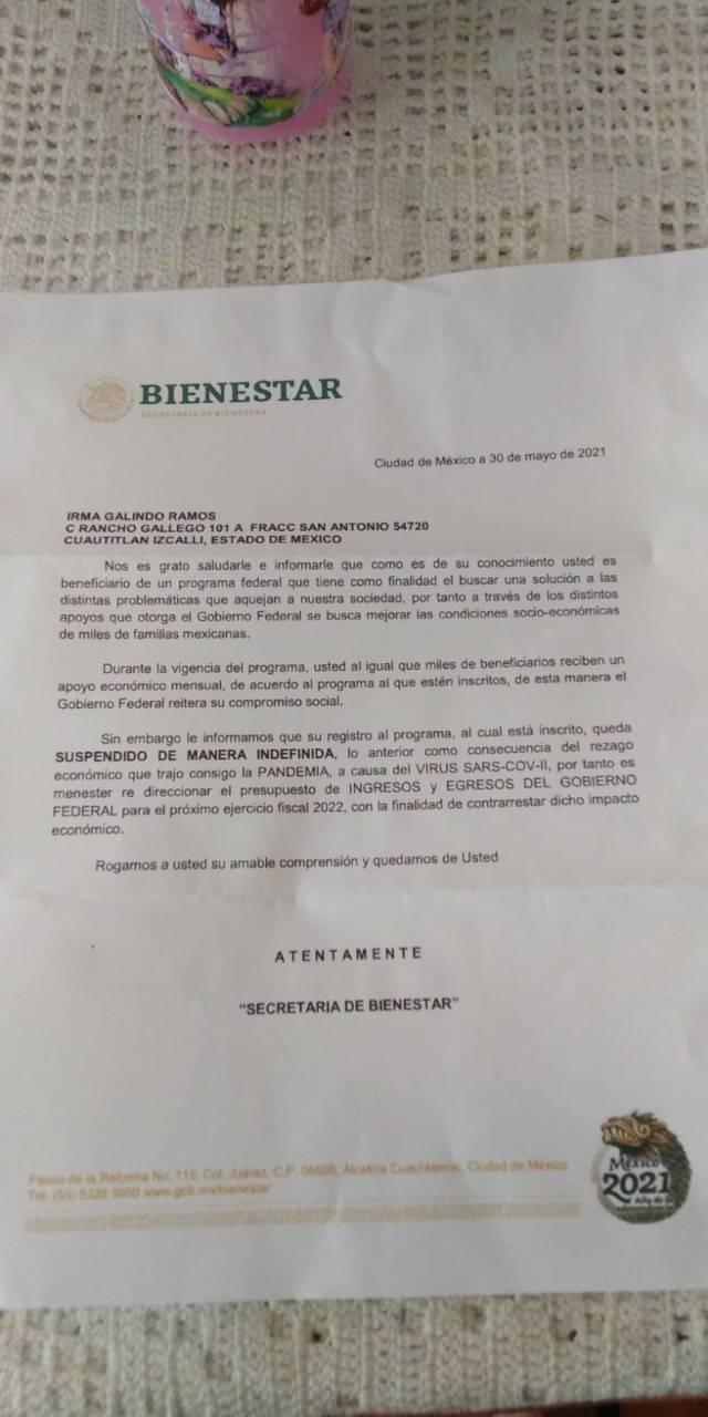 A través de una falsa carta de la Secretaría de Bienestar se informa a los beneficiarios quedar suspendidos de manera indefinida de los programas sociales.