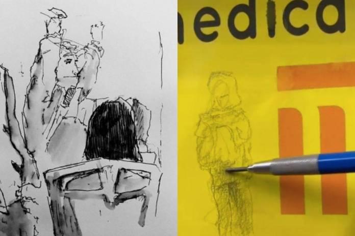 Estudiante de la UNAM sorprende a usuarios del Metro al dibujarlos sin que se den cuenta