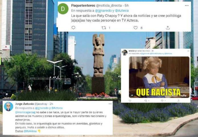 racismo de monica garza  - Exhiben a conductora de TV Azteca por su racimo; critica escultura en Reforma