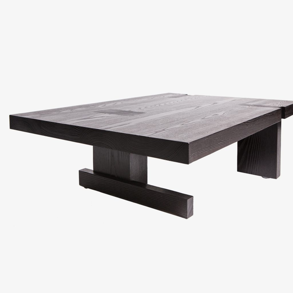Custom Made BDDW burnt finish solid ash coffee table