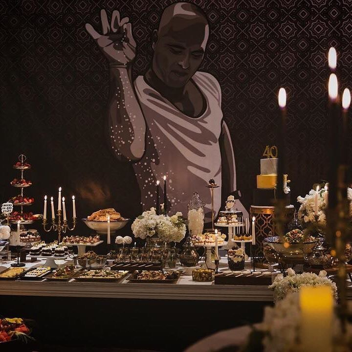 Featured mural of man spicing food at Black Room of event venue Regency in Brooklyn