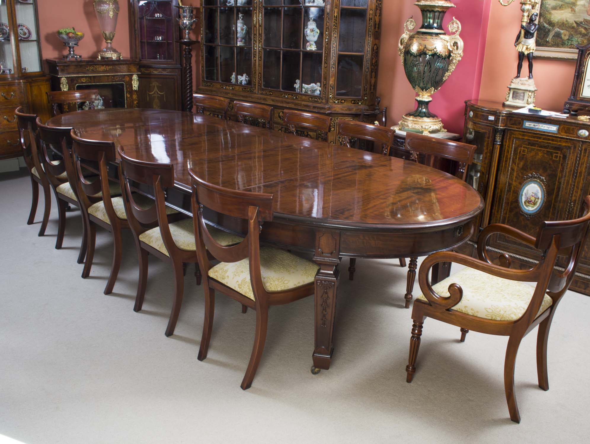 12 Chairs Antique 12ft 6 Quot Edwardian Dining Table 12 Chairs C1900